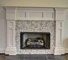 Good Cost-Free classic Fireplace Tile Ideas Enough time for anyone exposed bricks framing your fireplace, using their pocked faces and rustic fi Fireplace Remodel, Fireplace Mantle, Home, Pebble Tile, Living Room With Fireplace, Fireplace Tile Surround, Glass Tile Fireplace, Fireplace, Mosaic Tile Fireplace
