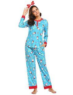 64559a2baf Ekouaer Women s Pajamas Fitted Christmas 2 Piece Pjs Set Sleep Pants  Sleepwear  Ekouaer  NotApplicable