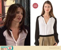 Robin's black and white colorblock shirt on How I Met Your Mother http://wornontv.net/11937/