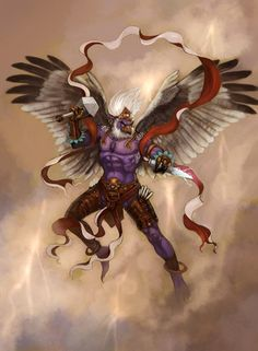 Lei gong- Chinese myth: the god of thunder. He had wings, clawed feet, blue face, and a beak. He punished humans who committed crimes and spirits who harmed humans.