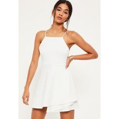 Missguided Square Neck Open Back Skater Dress ($36) ❤ liked on Polyvore featuring dresses, white, stretch dresses, square neck dress, skater dresses, open back dresses and white stretchy dress