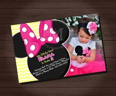 MINNIE MOUSE Birthday Invitation Minnie Mouse by CustomPartyShoppe, $7.00