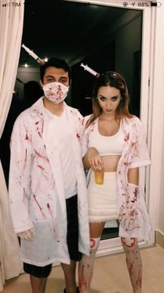 40 Awesome Couples Halloween Costumes Ideas - Fun Couples Halloween costumes for 2019 are more mainstream than they were a year ago. Several of the top topics are classic thoughts that arrive quit. Disfarces Halloween, Doctor Halloween Costume, Scary Couples Halloween Costumes, Best Couples Costumes, Trendy Halloween, Halloween Outfits, Couple Costumes, Zombie Couple Costume, Zombie Nurse Costume