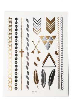 Temporary metallic tattoos in shades of gold and silver. Just in time for music…