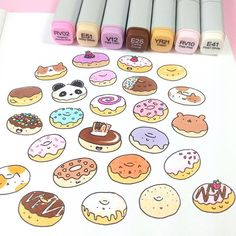 More donuts I'm working on turning this into a pattern right now ✨✨ Some of my favorite local donuts are on there, too #かわいい #可愛い #cute #donut #doodle #donuts #pastel #copicmarkers #catdonut #catcon #catconLA