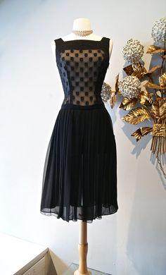 Xtabay Polka Dot Chiffon Dress 50s Style Polka by xtabayvintage