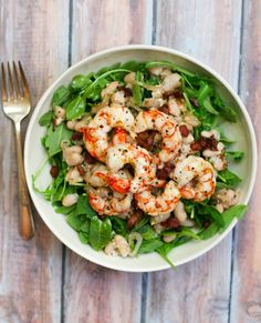 Roasted Shrimp Salad with Pancetta and White Beans - Erica Julson Herbalife, Citrus Lemon, Roasted Shrimp, Shrimp Salad, White Beans, Food Inspiration, Seafood, Good Food, Food And Drink