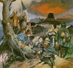 Angus McBride - The Fellowship of the Ring High Fantasy, Fantasy World, Medieval Fantasy, Fantasy Rpg, Hobbit Art, O Hobbit, Jrr Tolkien, Fellowship Of The Ring, Lord Of The Rings