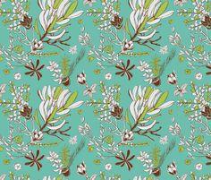 Teal Cradle Flora fabric by bermudezbahama on Spoonflower - custom fabric