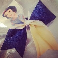 Gorgeous Snow White cheer bow with glitter by Puttinontheglitzbows, $14.00