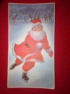 Vintage Christmas Greeting Card-Santa Ice Skating-by Norcross