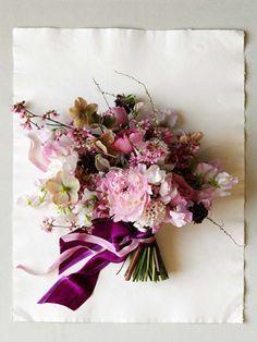 asymmetrical, organic, and soft purple bouquet