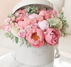 Dainty Ivory Hatbox Bursting with Pink Buds