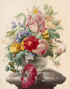 Herman Henstenburgh Flowers in a Vase 1700 Via: StillifeQuickheart
