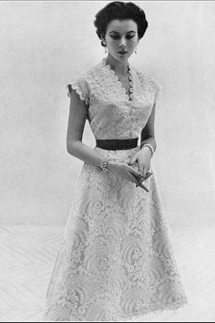 "1953 Sylvie Hirsch in lovely white lace dress by Lanvin-Castillo, photo by Eugene ""Genia"" Rubin"