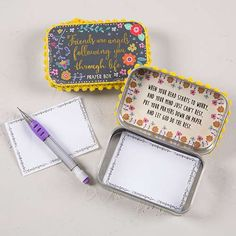 """""""Friends are Angels"""" Prayer Box - Keep your prayers close! This Prayer Box features pom-pom trim, bright colors and the heartfelt sentiment, """"Friends are angels following you through life"""". Open the lid for an inspirational message and write down your prayers with the included pad and tiny pencil."""