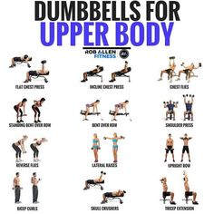 Here is a collection of upper body exercises where you need only dumbbells (and Workout Body Workout At Home, At Home Workouts, Lifting Workouts, Arm Workouts Gym, Gym Workouts For Women, Super Set Workouts, Body Pump Workout, Upper Body Hiit Workouts, Exercise Moves