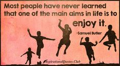 Most people have never learned that one of the main aims in life is to enjoy it