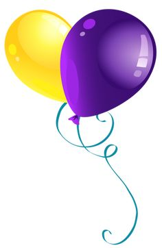 Yellow and Purple Balloons PNG Clipart Picture