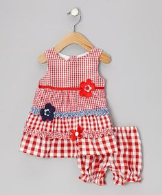 Take a look at this Red Gingham Ruffle Flower Seersucker Dress - Infant & Toddler by Sweet & Soft on #zulily today! $8.99