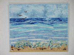 Seascape Beach Art Quilt by thornberrystudio on Etsy Ocean Quilt, Beach Quilt, Beach Fabric, Nautical Quilt, Landscape Art Quilts, Seascape Art, Fabric Postcards, Textiles, Quilted Wall Hangings