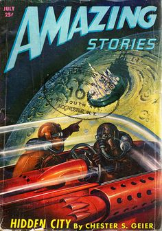 Amazing Stories, July 1947, cover by Julian S. Krupa