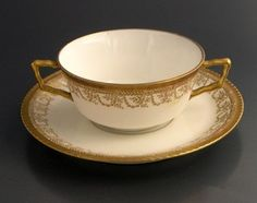 Coiffe Limoges Bouillon Soup and Underplate Marshall Field