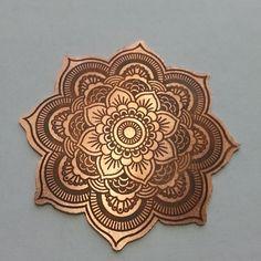 Today's Mandala copper etched pendant #jewelry #jewellery #fashion #metal #handmade #andriamckee #artisan #copper #yoga #lotusflower #bohemian #indie #hippie #boho #Namaste #Mandala www.mckeejewelrydesigns.com