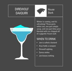 Game of Thrones themed drinks/Game of Thrones drinking game!