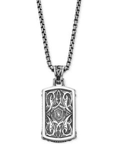 Daesar Sterling Silver Womens Necklace Dog Tag with Carbon Fiber Black Pendant Necklace for Womens
