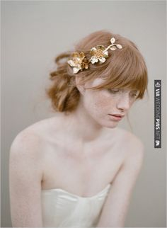 gold hair accessory by twigs & honey | CHECK OUT MORE IDEAS AT WEDDINGPINS.NET | #weddinghair