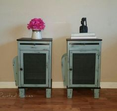 End Table makeover ideas. General Finishes Java Gel Stain. rustic farmhouse distressed chicken wire Could be used as night stands   www.Facebook.com/paintedpiecesshop/