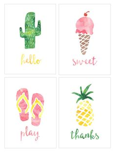 Use these FREE Summer Watercolor Notecards to give a friend a little treat or sweet note this summer!