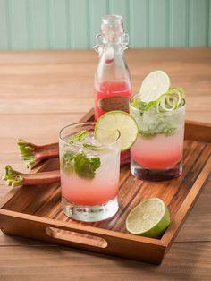 Rhubarb Mojitos with Rhubarb  Lime Syrup | #lightrum; #rhubarb; #lime; #mint; #basil; #clubsoda