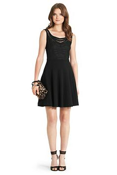 DVF | A perfect party dress, the Idelia is a flirty flare silhouette with lace detail at front.