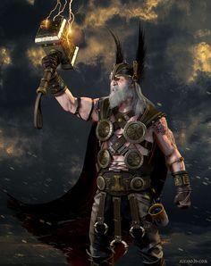 Ancient Thor, Alvaro Ribeiro on ArtStation at https://www.artstation.com/artwork/l9yG