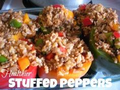 Family Living on a Budget: Healthier Stuffed Peppers Easy Delicious Recipes, Great Recipes, Dinner Recipes, Favorite Recipes, Healthy Recipes, Delicious Food, Healthy Foods, Easy Recipes, Healthy Lifestyle Habits