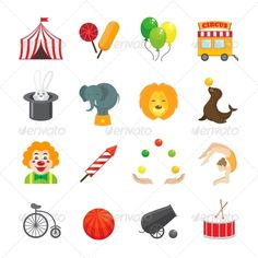 Circus Icons Set — JPG Image #circus #animal • Available here → https://graphicriver.net/item/circus-icons-set/7864710?ref=pxcr