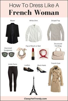 "Find out what items you need in your closet to dress like a French Woman! French women have such great style!  Their outfits are always chic and beautiful.  If you search for ""french outfit"" or ""french style"" on Pinterest, you'll see hundreds of outfit ideas.  Most of the women are wearing classic essentials that you…"