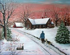 Morning Red Winter Snow Rabbit Box Old Farm House Hound Dog Road Folk Art Landscape Original Oil Painting Red Barn Arie Reinhardt Taylor by jagartist on Etsy