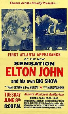 Elton John Rock Band Posters, Vintage Concert Posters, Classic Rock And Roll, Gig Poster, Rock Concert, Ad Art, Old Tv Shows, Blues Rock, Music Covers