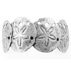 Sand Dollar Silver Barrette Pony Tail Holder