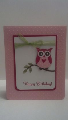Owl Birthday Card Stampin Up Handmade