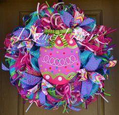 Bright Easter Egg deco mesh Wreath by DzinerDoorz on Etsy, $115.00