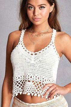 Fabulous Crochet a Little Black Crochet Dress Ideas. Georgeous Crochet a Little Black Crochet Dress Ideas. Top Crop Tejido En Crochet, Débardeurs Au Crochet, Mode Crochet, Crochet Woman, Crochet Blouse, Crochet Bikini, Crochet Gratis, Patron Crochet, Crochet Style