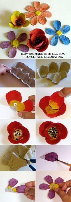 Riciclo confezioni uova - Creare fiori con le confezioni delle uova, sia di cartone che di plastica