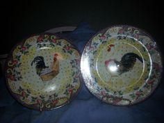 American Atelier Petite Province Porcelain Rooster Plates #AmericanAtelier