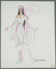 "Felt pen on paper sketch of a costume worn by Cher with guest David Essex inscribed ""Bob Mackie."" Sold by auction. Dress Sketches, Fashion Sketches, Fashion Illustrations, Fashion Art, Vintage Fashion, Fashion Outfits, Fashion Design, Cher Costume, Hollywood Fashion"