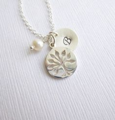 Solid Sterling Silver Family Tree Initial Necklace --  Mothers Grandmothers Gift -- Roots of Friendship -- Tree of Life on Etsy, $33.00