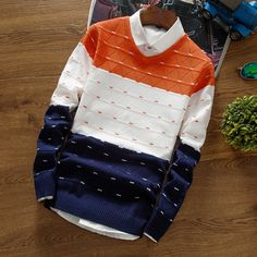 BKTrend 2017 New Autumn Brand Clothing Men's Pullover Sweaters Knitting Fashion Designer Casual Striped Man Knitwear